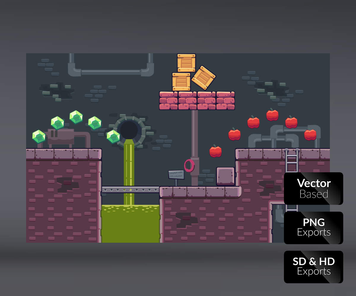 Sewer level video game platform game art royalty free