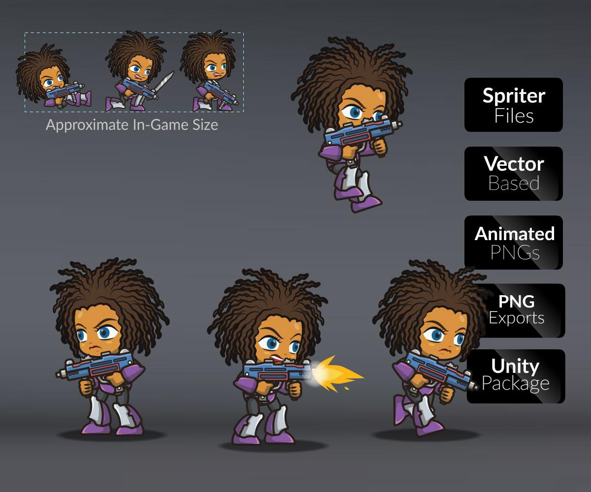 Brown Skin Metro Squad Girl - Game Art Partners