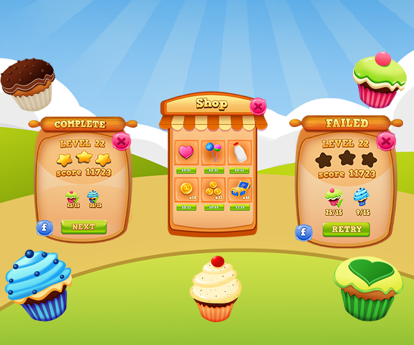 cup cakes Mobile game GUI