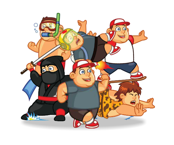 Fat Boy Character Set _Royalty Free Game Art