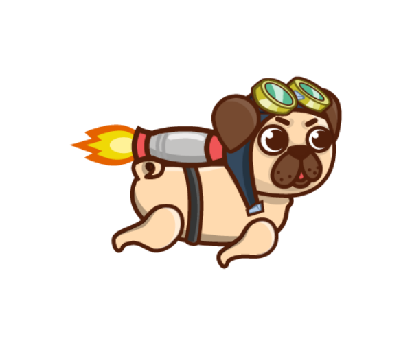 jetpack pug royalty free game art 3