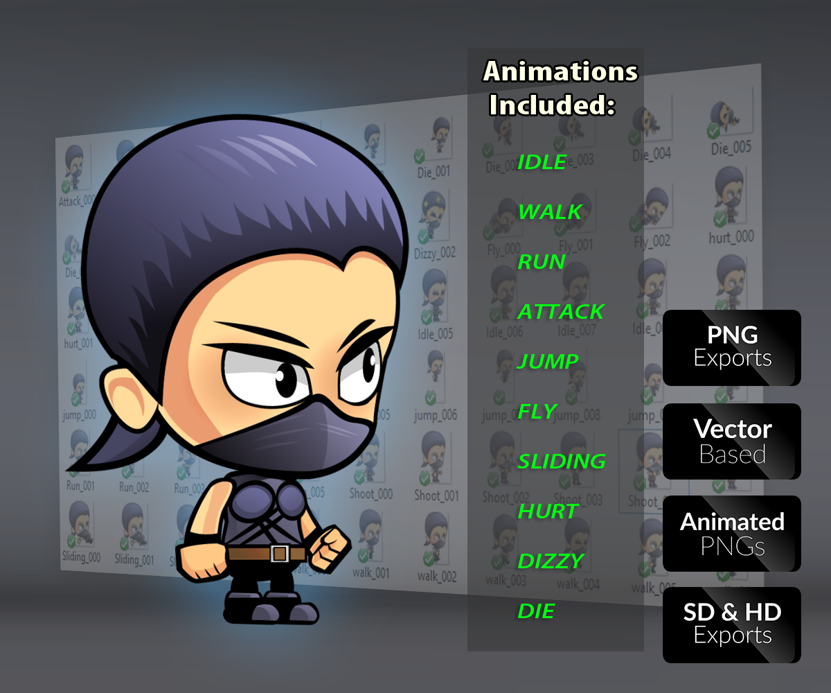 Ninja Chic Royalty Free Game Art Character