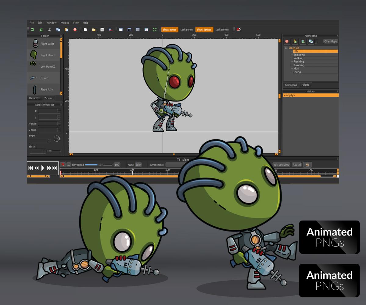 Green Skinned Alien Sprite Game art