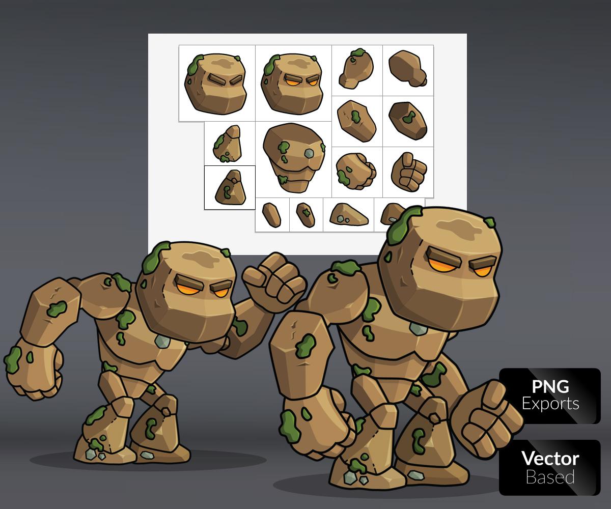 Living Earth Rock Monster Royalty Free Game Art
