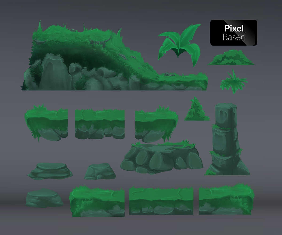 Misty Forest Tile Set - Royalty Free Game Art