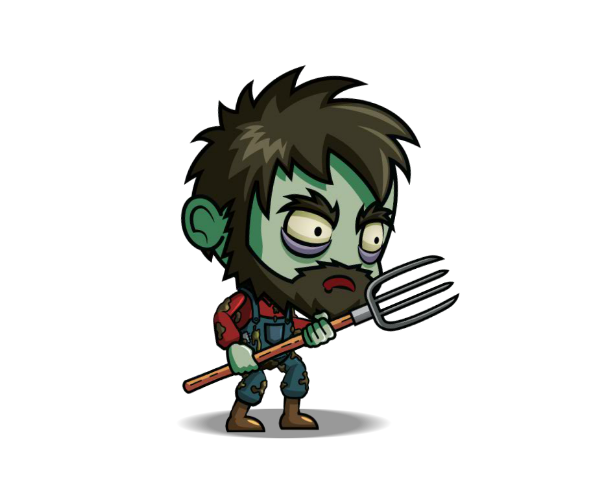 Zombie Farmer Character Royalty Free Game Art