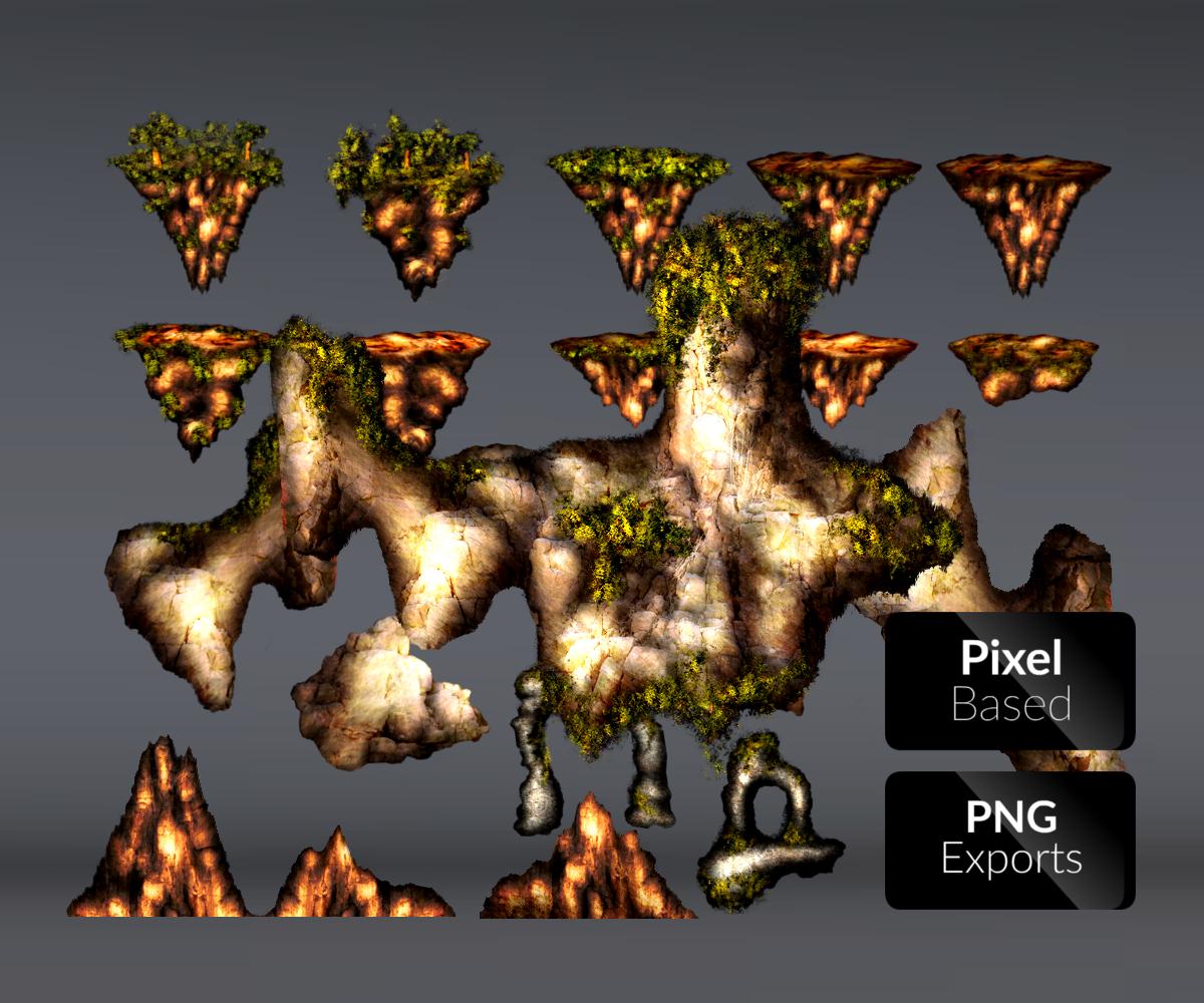 Flying Islands Platform Set Royalty Free Game Art
