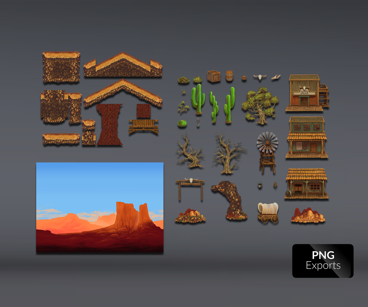 Old West Town - Platform Set - Royalty Free Game Art