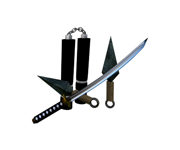 3D japanese weapons royalty free game art