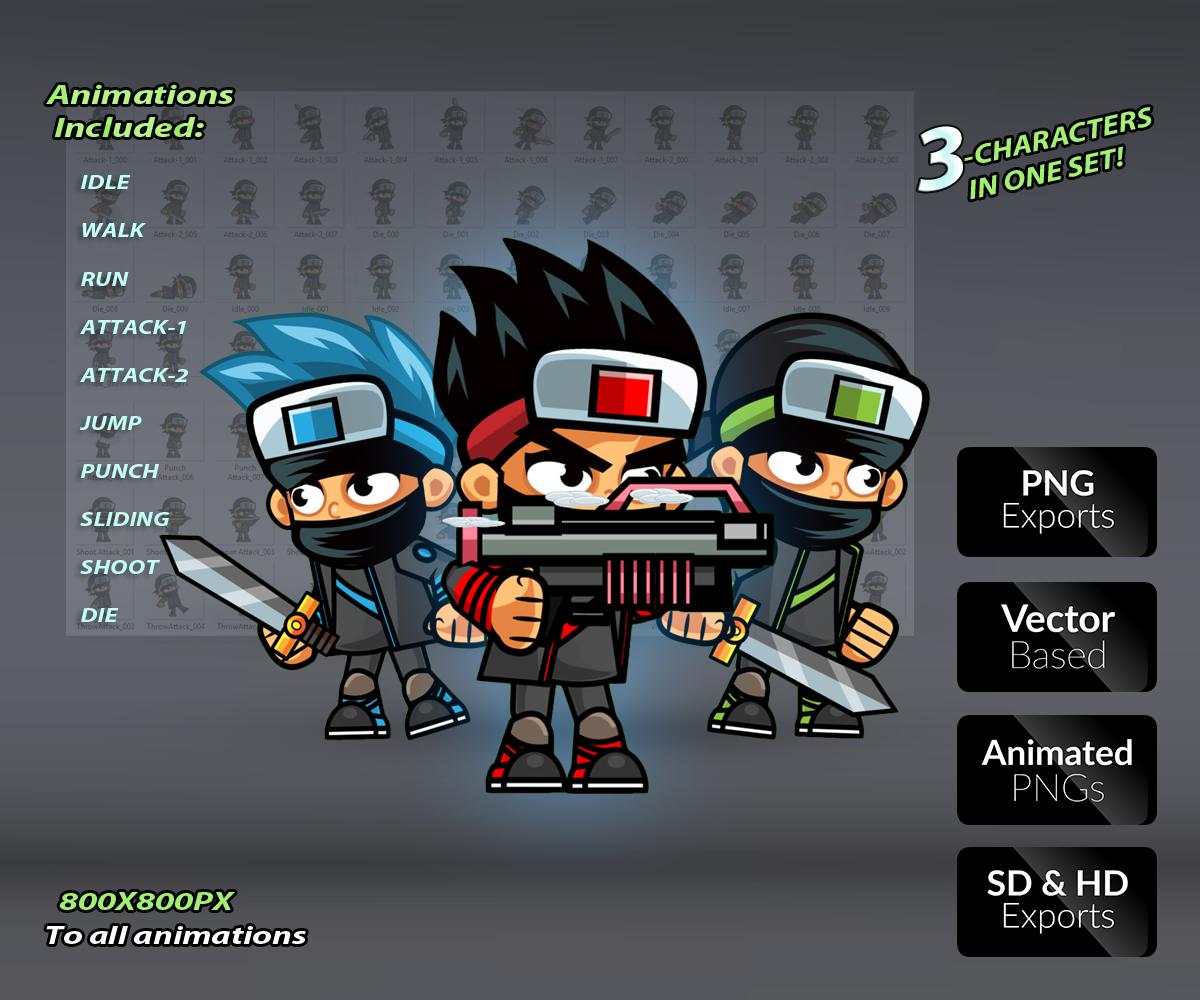 Royalty Free Game Art Ninja Assassins