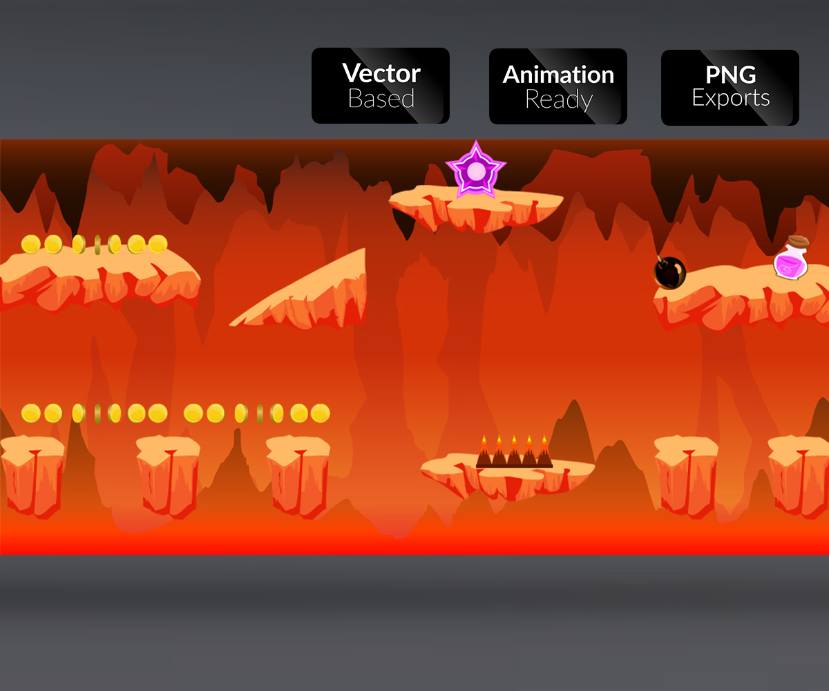 Lava Cave Level 2D Game Art
