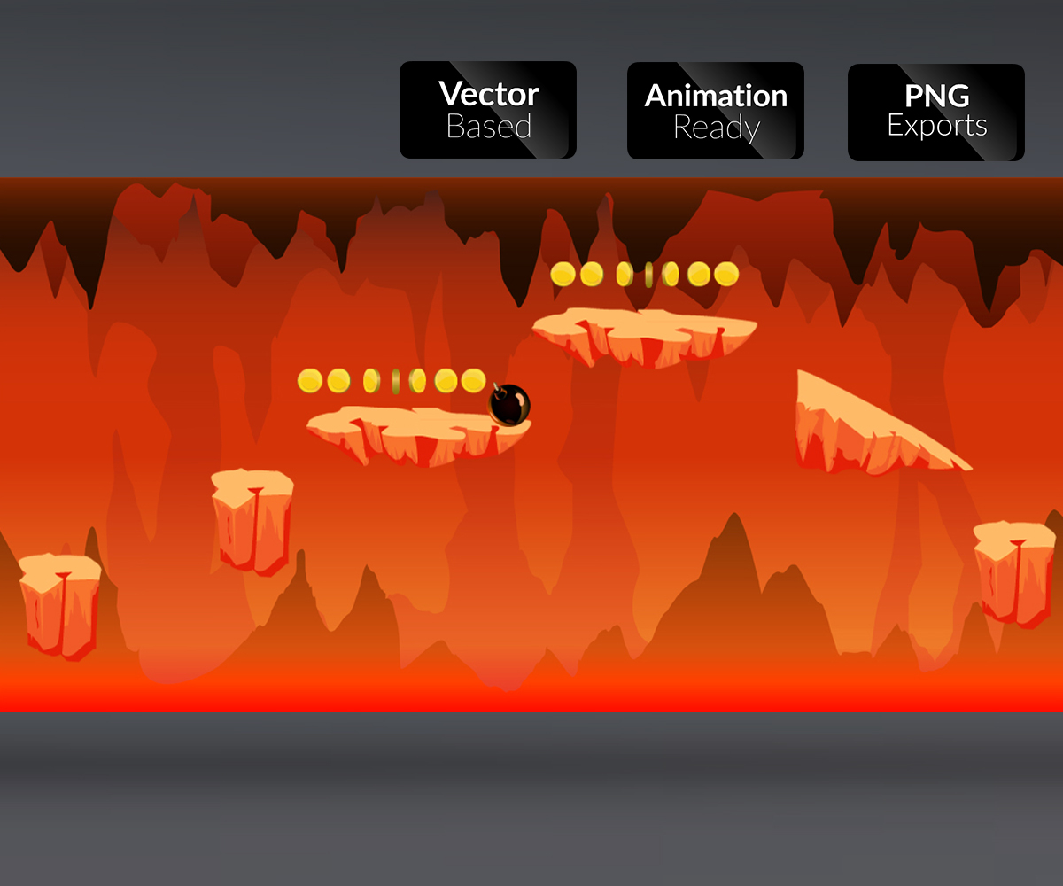 Lava Cave Level 2D Game Art