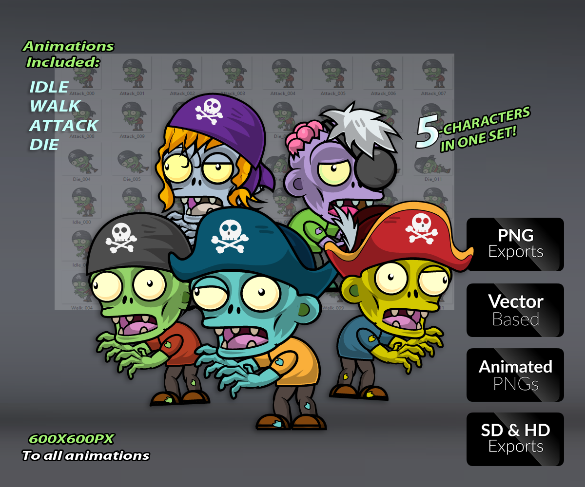 Pirate Zombies Royalty Free Game Art