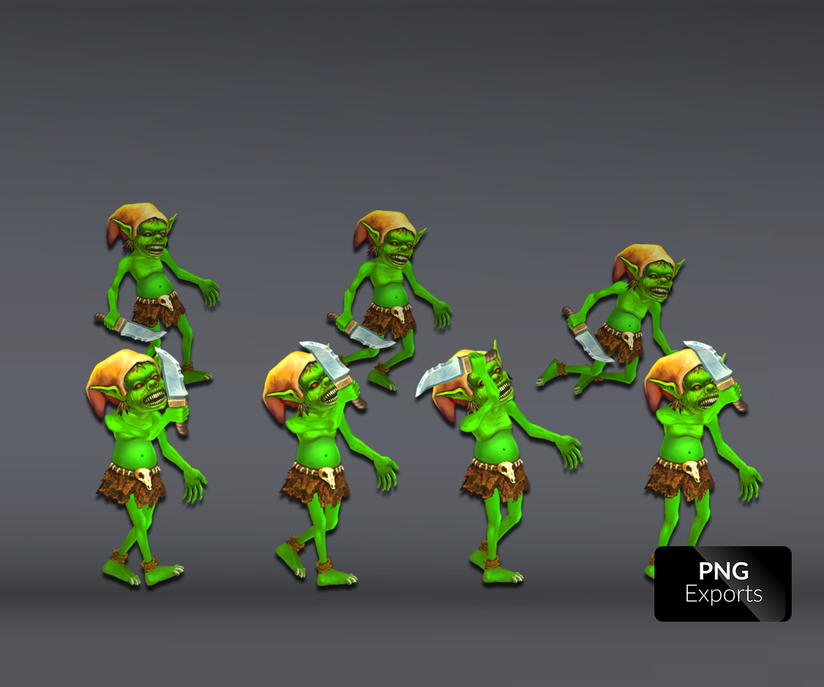 Handprinted Goblin Character Royalty Free Game Art