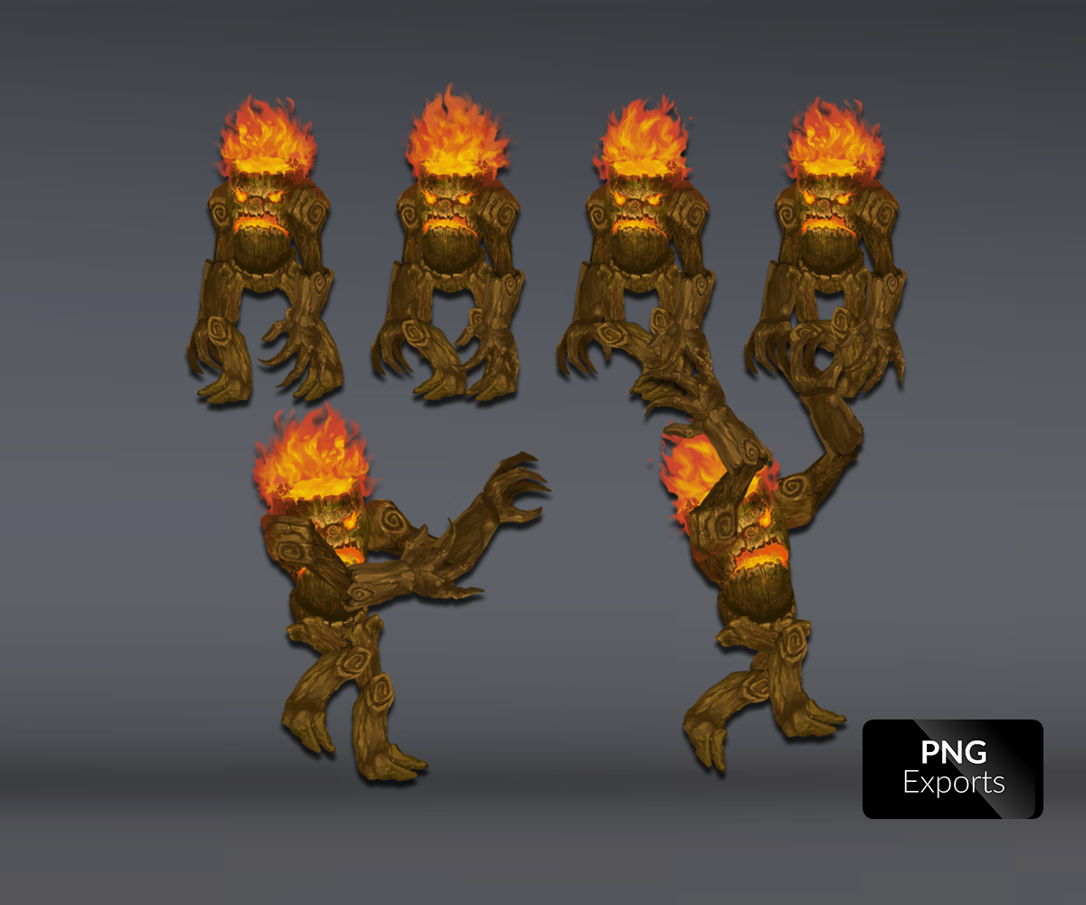 Burning tree royalty free game art sprite