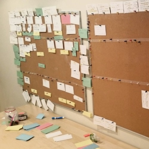 Index cards organize Shuyan's narrative storytelling in the game writers' room