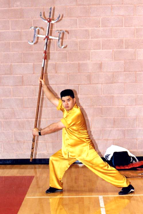Nine Dragon Trident - Okay look, I'll admit it. Some of these things are kind of ridiculous. The Nine Dragon Trident was specifically invented for Choy Li Fut, which makes sense since anyone who tried to use it in an actual war probably wouldn't have lasted very long. What you might not be able to tell from the picture is that the two larger sets of blades actually rotate, meaning they can lay flat or be perpendicular to each other. (source: plumblossom.net)