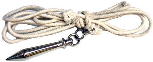 Rope Dart - This one does what it sounds like. It's a dart attached to a rope. You can use the speed you get from spinning the dart around to launch it a long distance, and then you can grab the rope to pull it back. (source: sakuramartialarts.com)