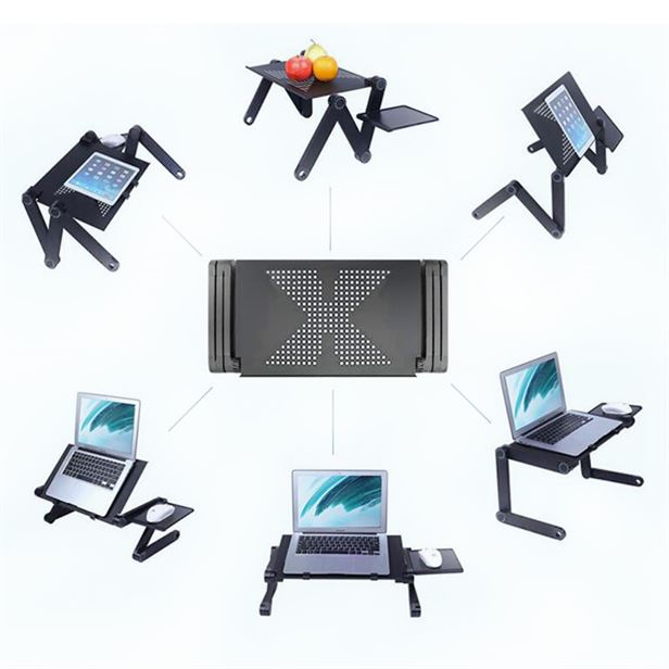 SUFEILE Aluminum Laptop Folding Table Computer Desk Stand For Bed 360  Degree Rotation MultiFunctional Portable Folding