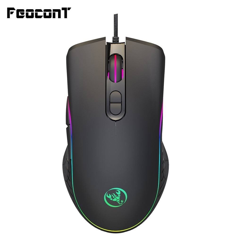 7 Programmable Keys 4-Level Adjustable 3200 DPI 4-Color LED Light Change Macro Programming Mouse for Game Office PSATO E-Sports Wired Gaming Mouse Human Body Engineering Design