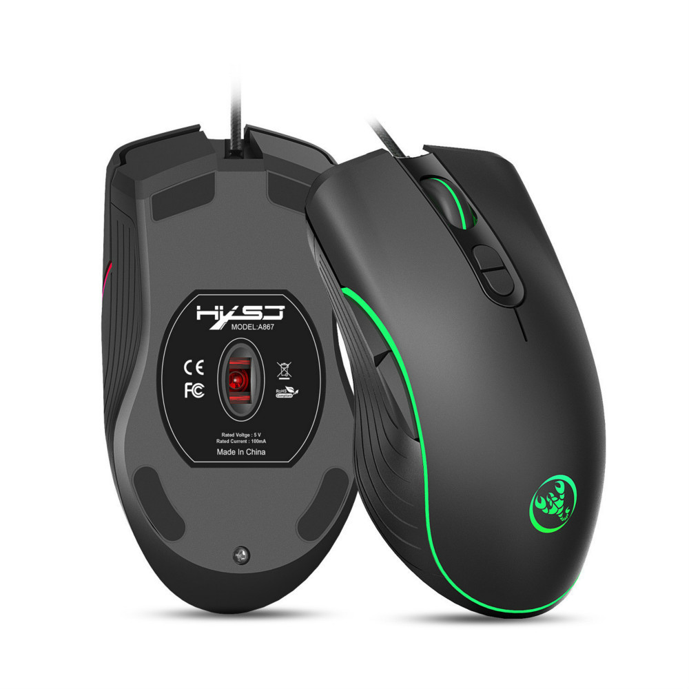 4-Color LED Light Change Macro Programming Mouse 7 Programmable Keys for Game Office Human Body Engineering Design 4-Level Adjustable 3200 DPI PSATO E-Sports Wired Gaming Mouse