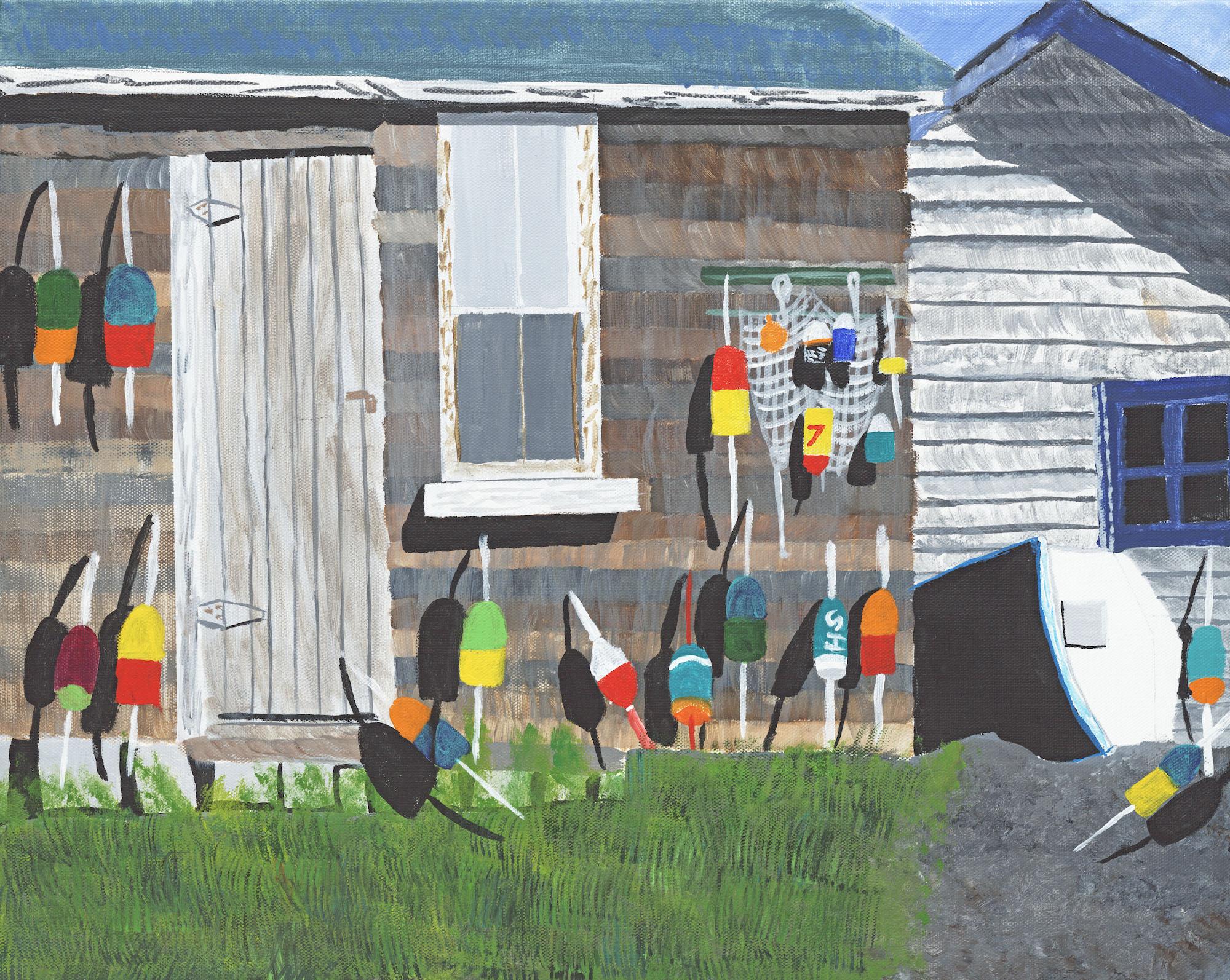 acrylic art on canvas cape cod boys