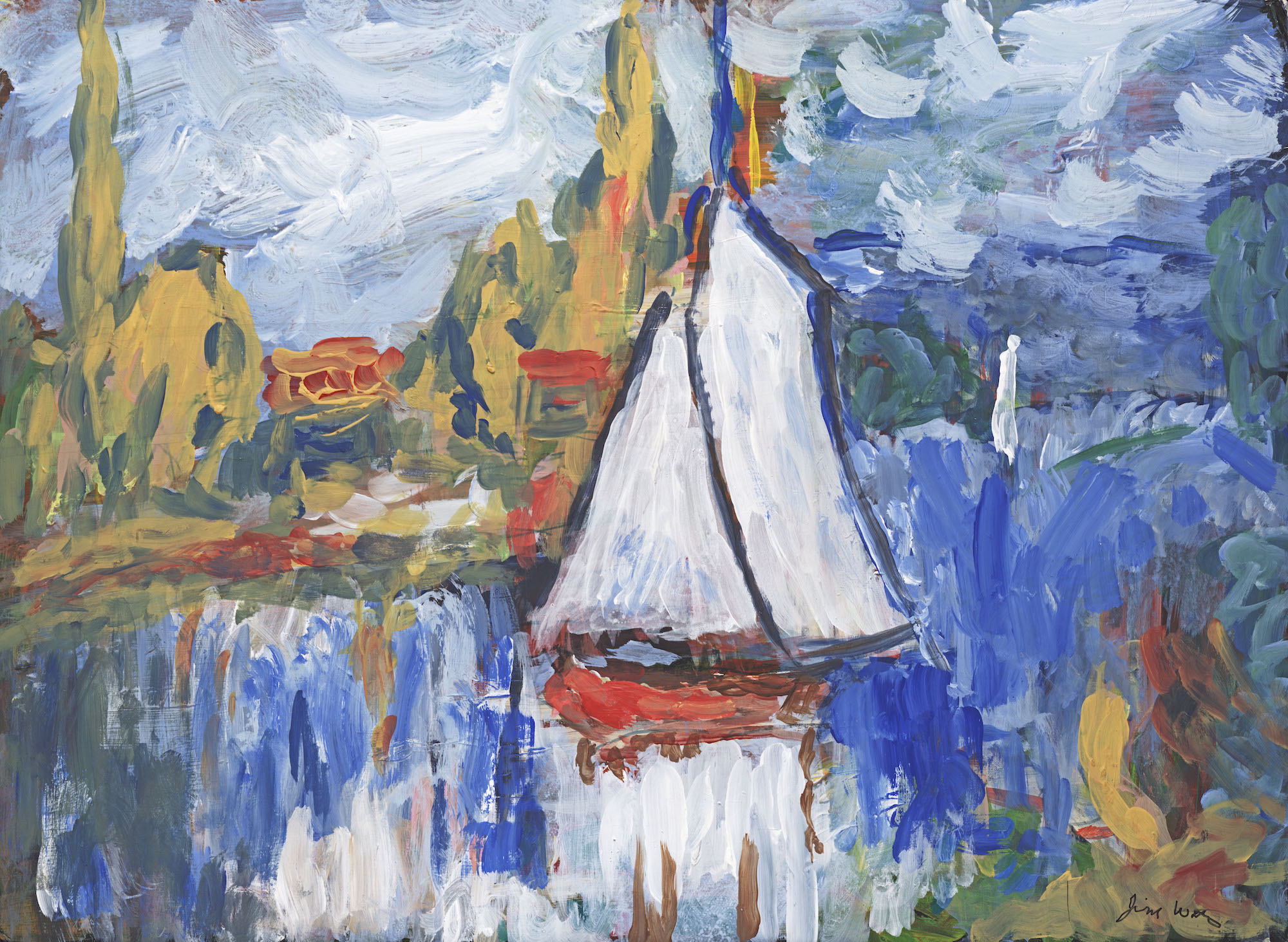 abstract sailboat acrylic art on canvas