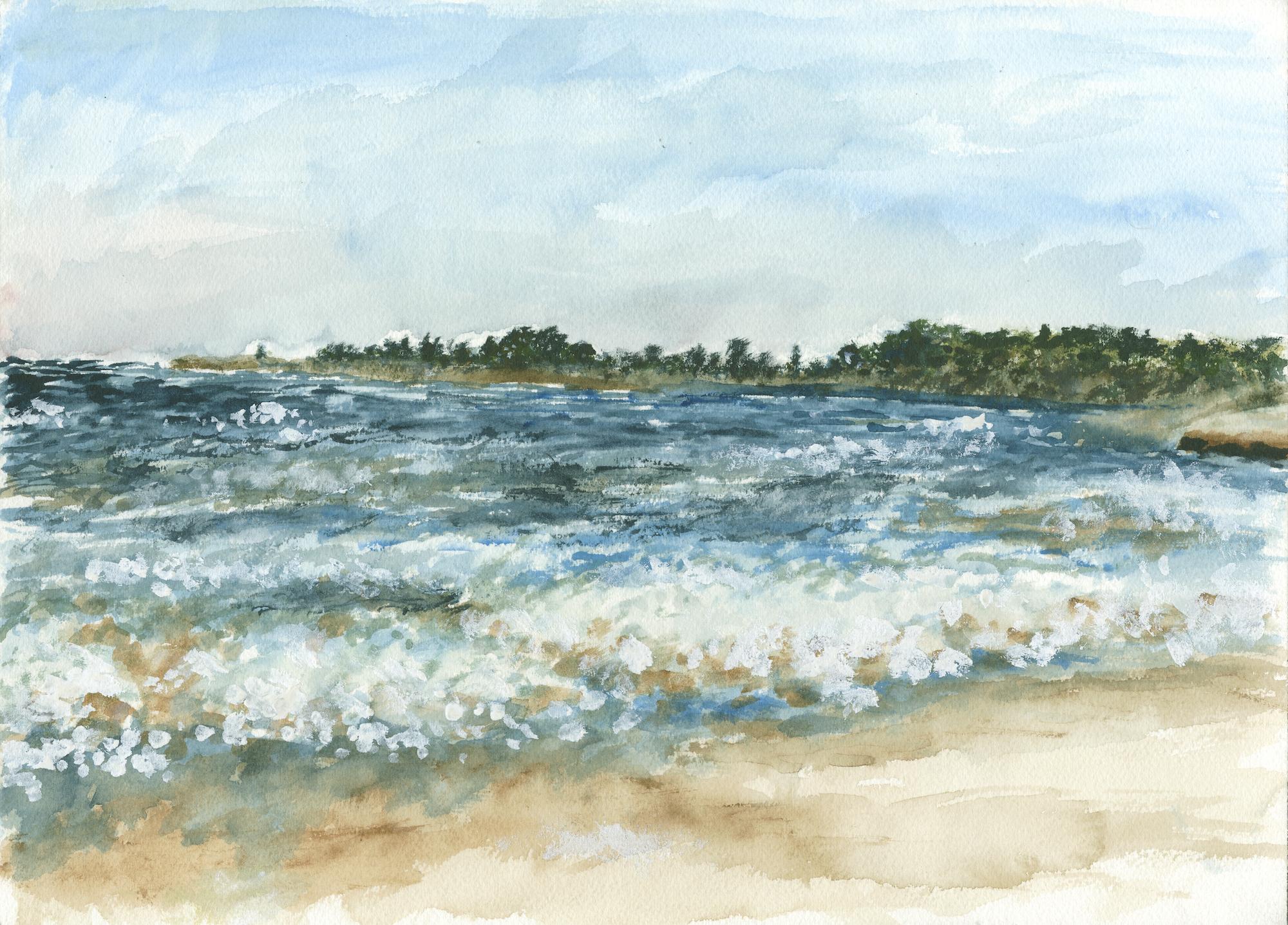 lake shore landscape art