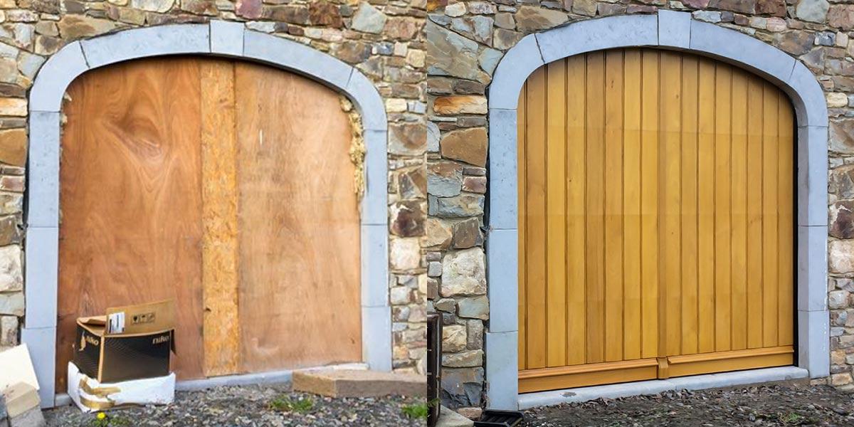 Eiken-garagedeur-en-voordeur-in-dezelfde-stijl-61