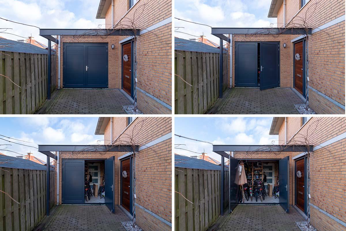 Houten-openslaande-garagedeur-blauw