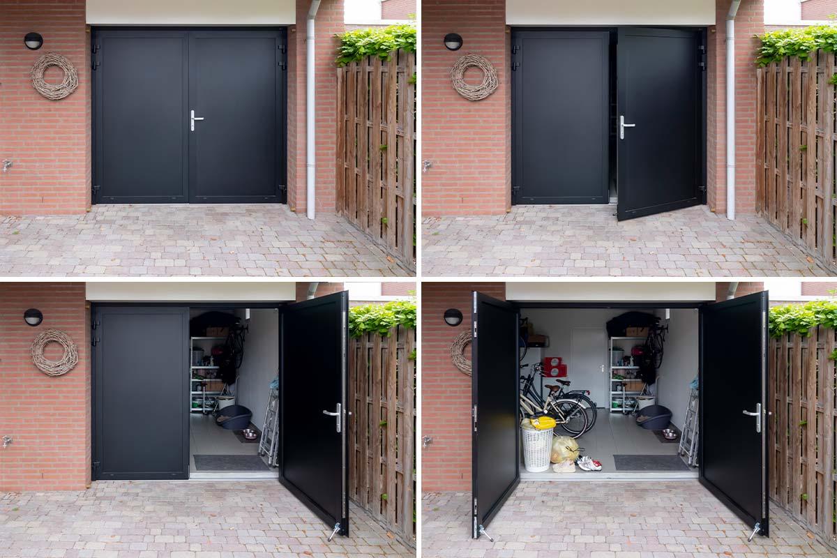 zwarte garagedeur openslaand
