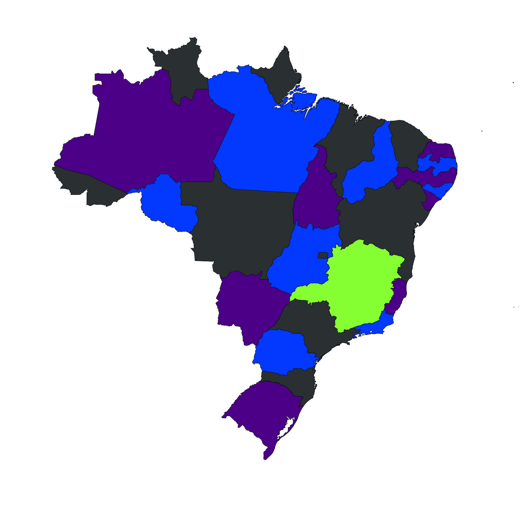Brazil map colored with four colors