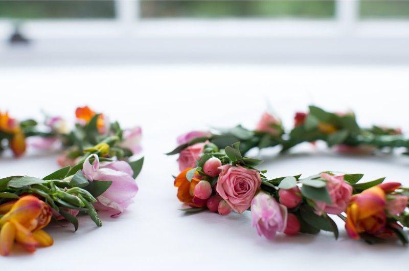 Pink Orange Flower Crown