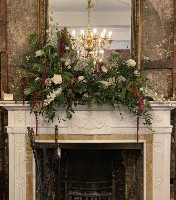 Wild natural floral decoration on a fireplace mantle