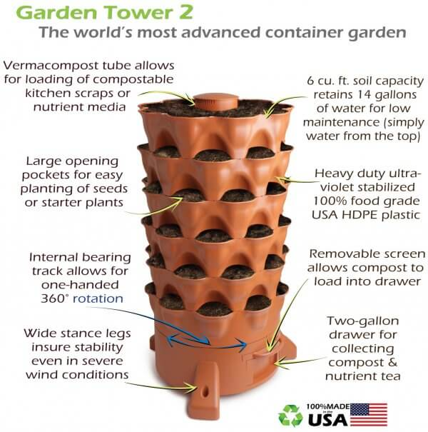 Garden Tower® 2: 50-Plant Composting Container Garden