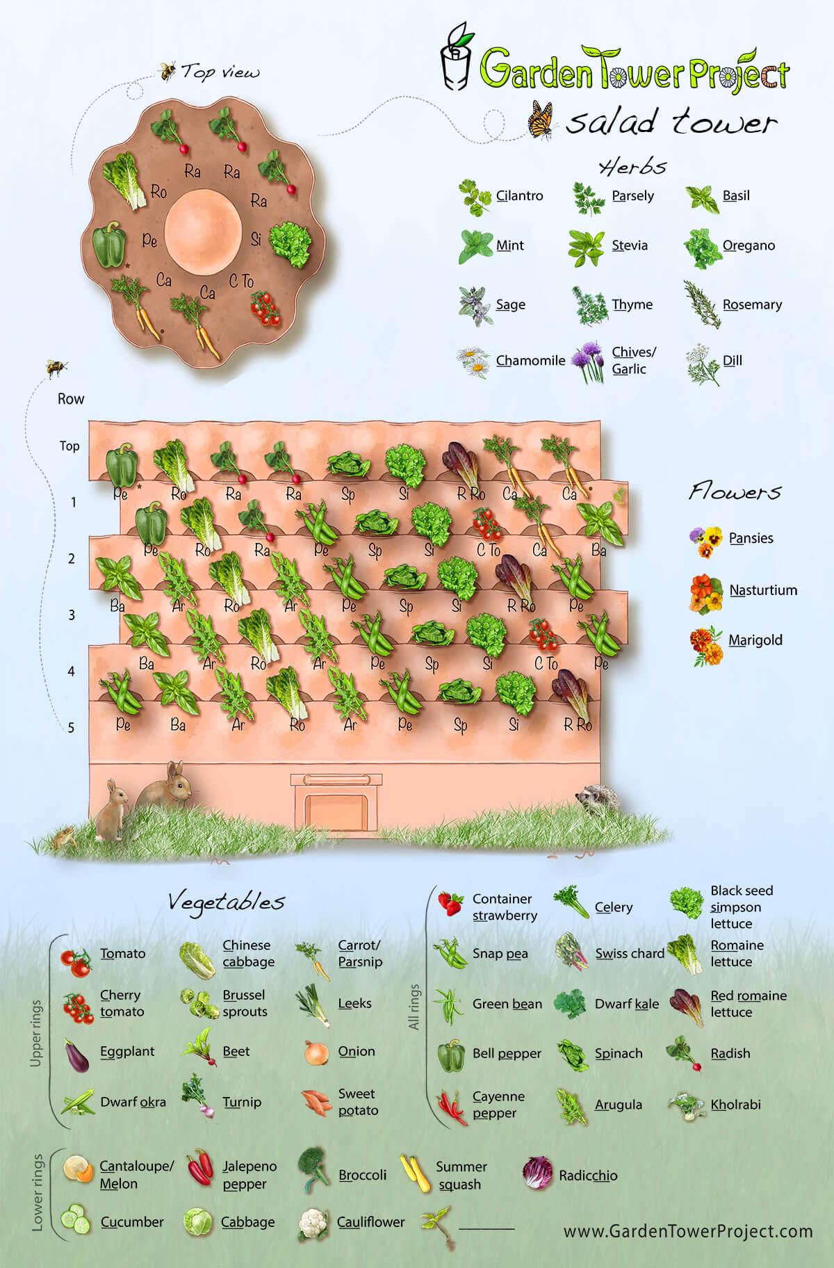 Interactive Drag Drop Planting Designer And Salad Tower Sample