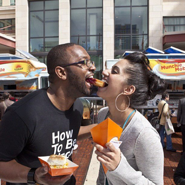 'How To Be Black' Author Baratunde Thurston with the Today Show's Vidya Rao at the Munchie Mobile