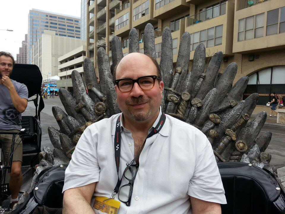 Craig Newmark in the Game of Thrones Pedicab @ SXSW 2013