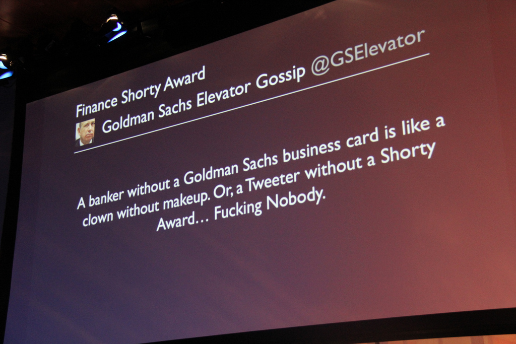 Goldman Sachs Elevator Gossip @GSElevator which won the Finance Shorty Award