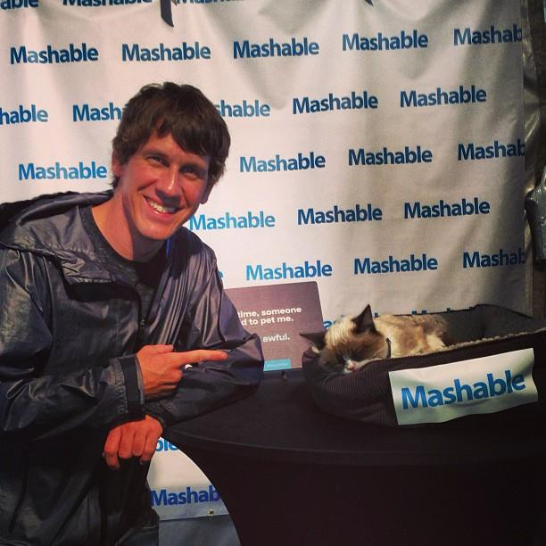 Grumpy Cat with Foursquare CEO Dennis Crowley @ SXSW 2013