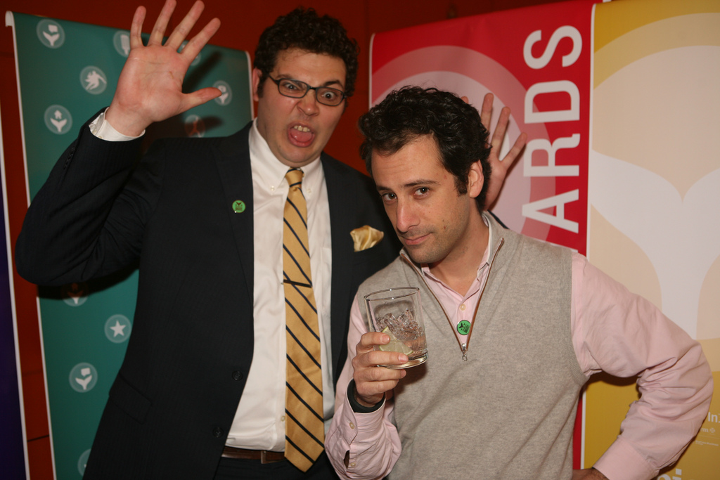 BuzzFeed President Jon Steinberg and friend ham it up for the camera
