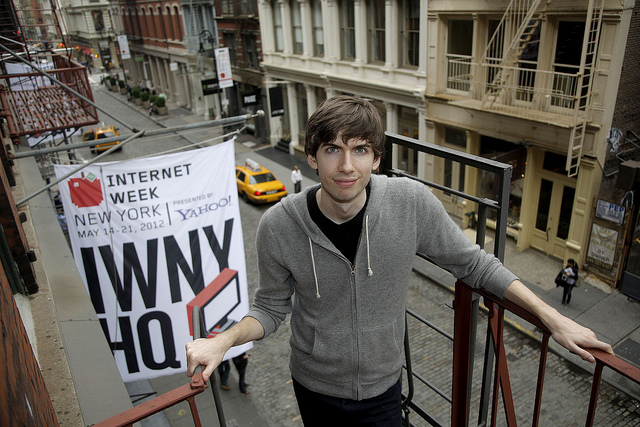 Tumblr Founder & CEO David Karp outside the Internet Week 2012 HQ