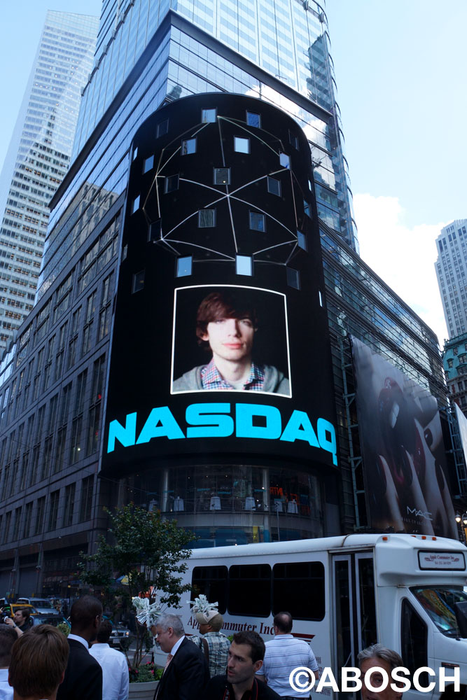 Portrait of Tumblr Founder David Karp by world-renowned photographer Kevin Abosch on the NASDAQ as part of the FACES:TECH project during F.ounders NY 2012