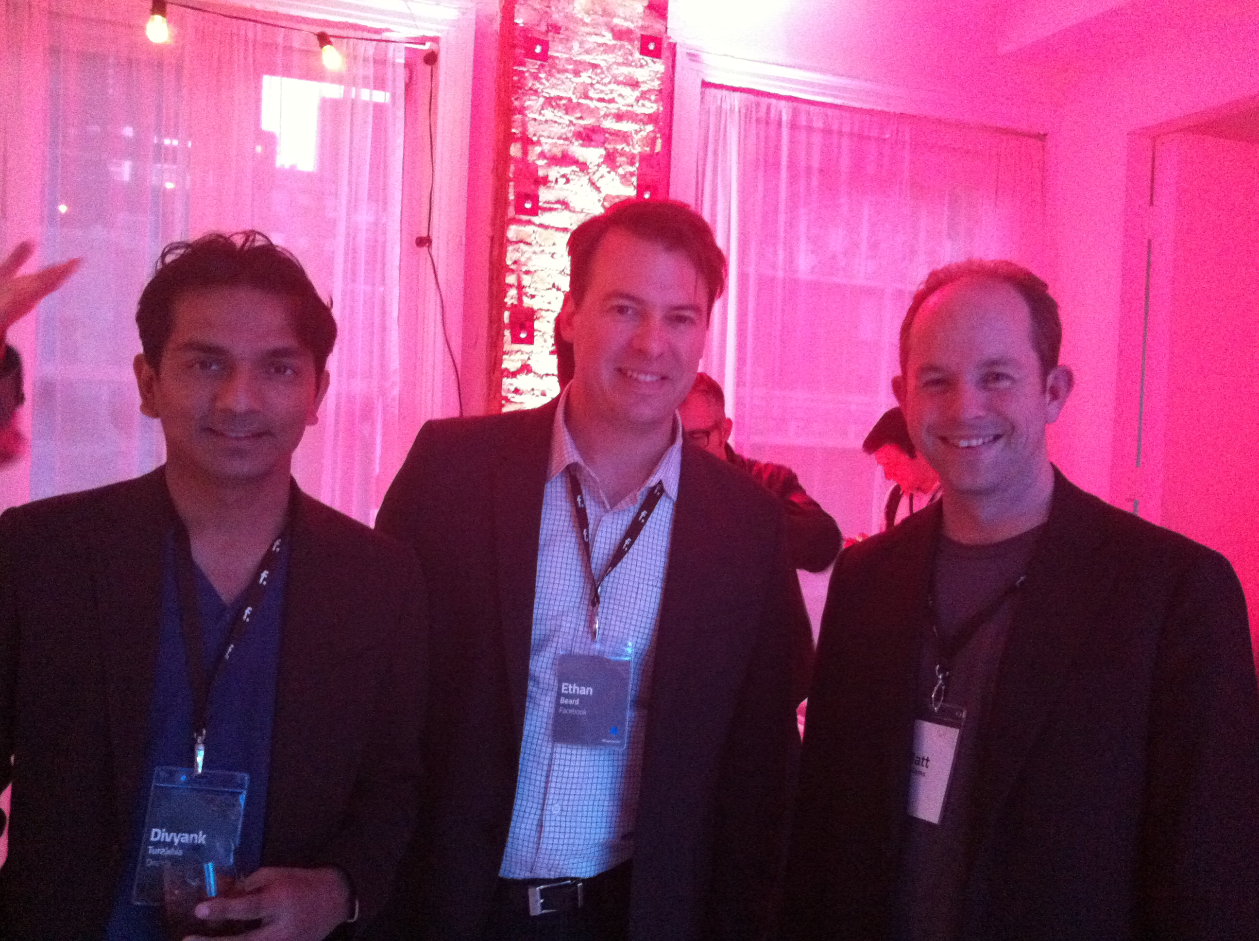 Media.net's Divyank Turakhia, Facebook's Ethan Beard and Digg's Matt Williams at Gary's Loft at F.ounders NY 2012