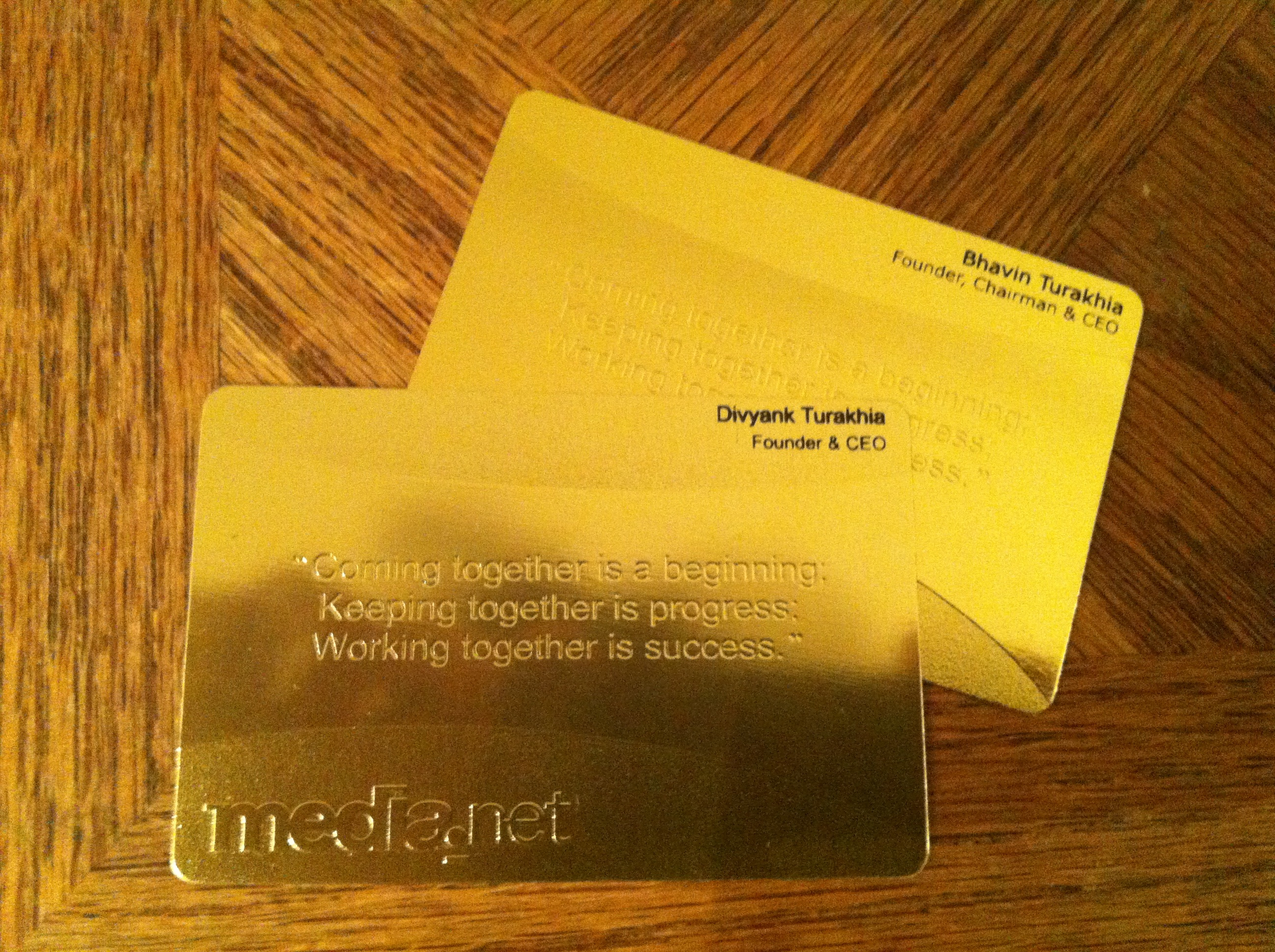 Gold Business Cards? - F.ounders NY 2012 at Charity:Water