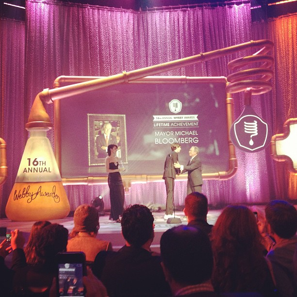 Mayor Mike Bloomberg and Tumblr Founder & CEO David Karp at the 16th Annual Webby Awards (Photo: Shira Lazar)