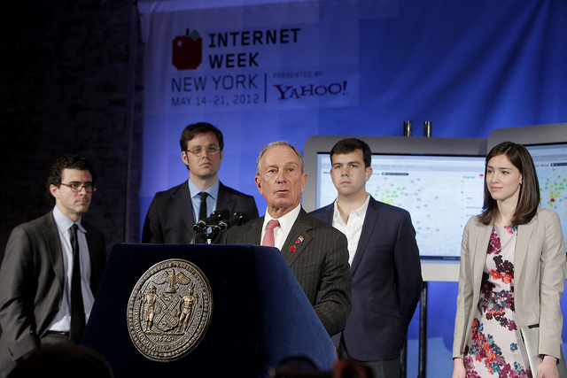 Mayor Mike Bloomberg unveiling the Mapped in NY initiative to help connect job seekers with startups looking to hire.