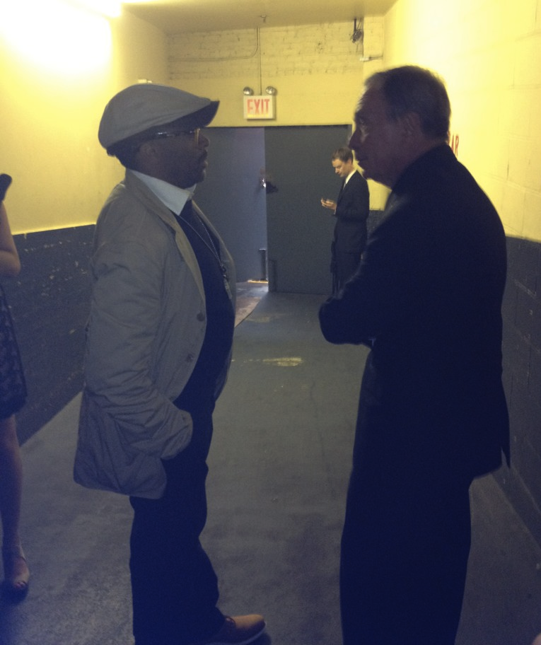 Mayor Bloomberg and Spike Lee sharing a private moment at the 16th Annual Webby Awards