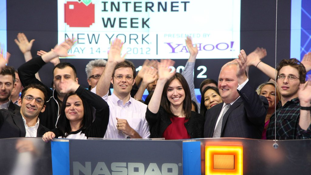 Internet Week Co-Chair David-Michel Davies and NYC Chief Digital Officer Rachel Sterne ringing the closing bell at the NASDAQ