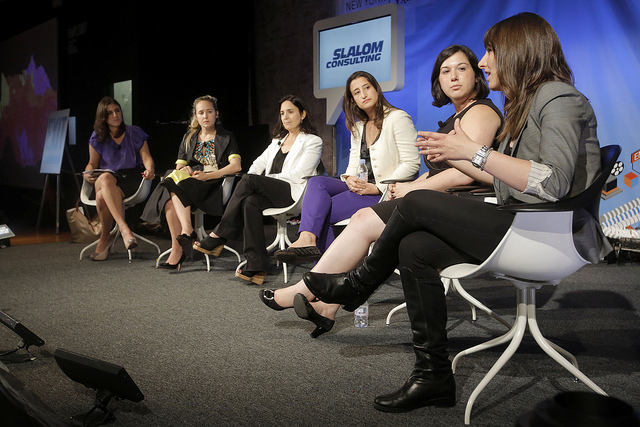 CNN Money reporter Laurie Segall, LearnVest CEO Alexa von Tobel, ArtSpace CEO Catherine Levene, Birchbox Co-Founder Hayley Barna, Mashable COO Sharon Feder and Nestio CEO Caren Maio at the 'Why being a good executive has nothing to do with being a woman' panel